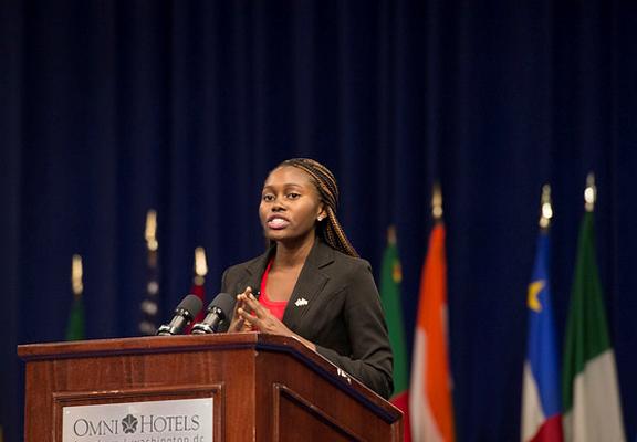 Laura Golakeh introducing National Security Advisor Ambassador Susan Rice